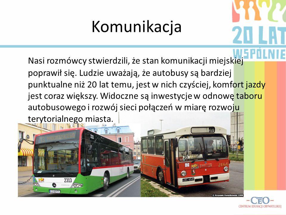 Komunikacja Nasi rozmówcy stwierdzili, że stan komunikacji miejskiej poprawił się. Ludzie uważają, że autobusy są bardziej punktualne niż 20 lat temu,