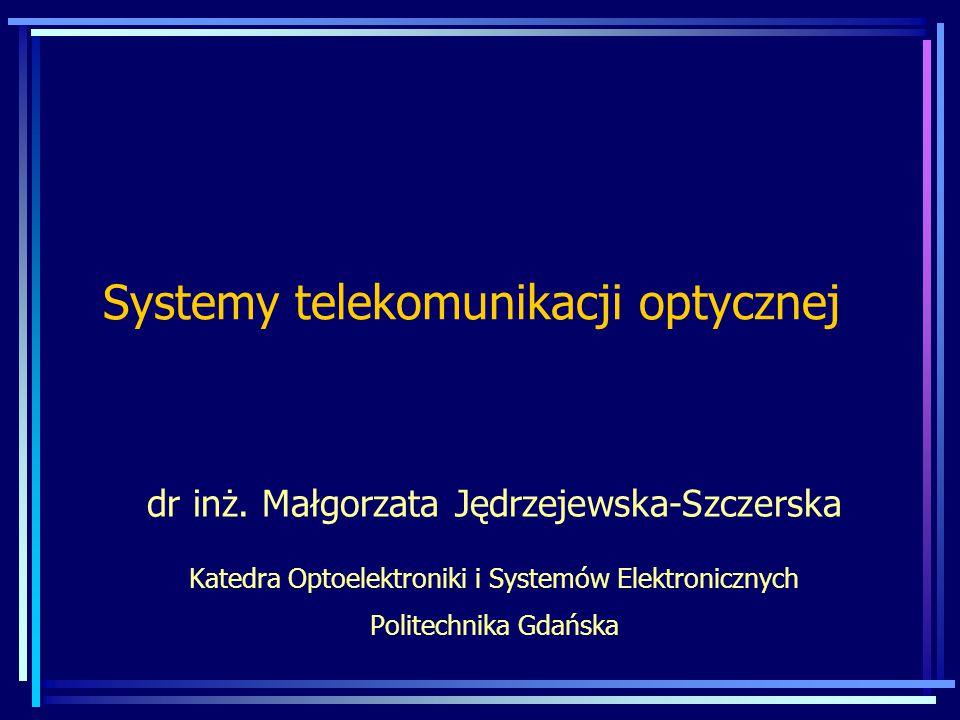 Wzmacniacz EDFA Źródło: J.Siuzdak: Wstęp do współczesnej telekomunikacji światłowodowej, WKŁ 1997