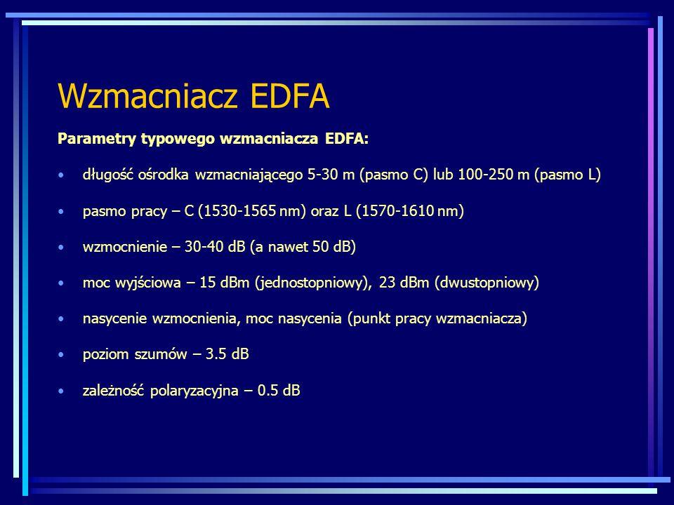 Wzmacniacz EDFA Parametry typowego wzmacniacza EDFA: długość ośrodka wzmacniającego 5-30 m (pasmo C) lub 100-250 m (pasmo L) pasmo pracy – C (1530-1565 nm) oraz L (1570-1610 nm) wzmocnienie – 30-40 dB (a nawet 50 dB) moc wyjściowa – 15 dBm (jednostopniowy), 23 dBm (dwustopniowy) nasycenie wzmocnienia, moc nasycenia (punkt pracy wzmacniacza) poziom szumów – 3.5 dB zależność polaryzacyjna – 0.5 dB