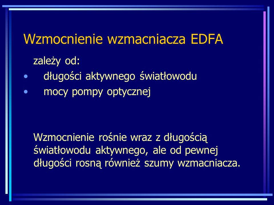 Wzmocnienie wzmacniacza EDFA zależy od: długości aktywnego światłowodu mocy pompy optycznej Wzmocnienie rośnie wraz z długością światłowodu aktywnego, ale od pewnej długości rosną również szumy wzmacniacza.