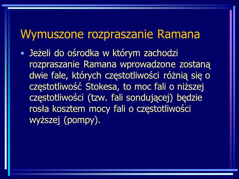 Wymuszone rozpraszanie Ramana Jeżeli do ośrodka w którym zachodzi rozpraszanie Ramana wprowadzone zostaną dwie fale, których częstotliwości różnią się o częstotliwość Stokesa, to moc fali o niższej częstotliwości (tzw.
