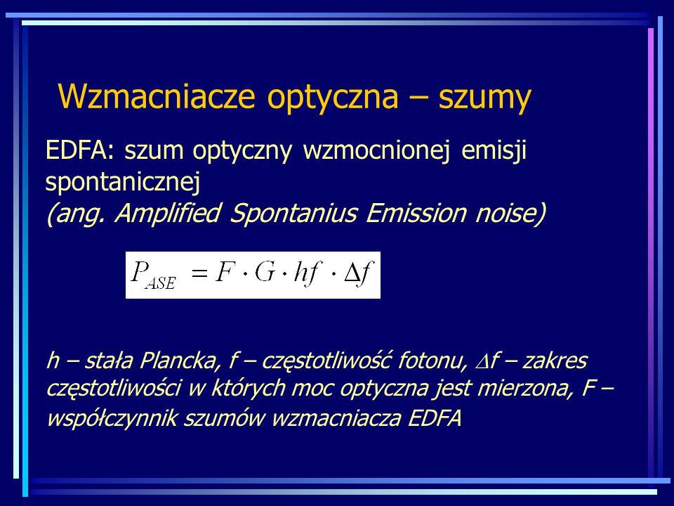 Wzmacniacze optyczna – szumy EDFA: szum optyczny wzmocnionej emisji spontanicznej (ang.