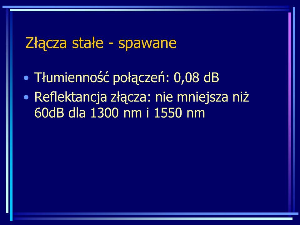 Złącza stałe - spawane Tłumienność połączeń: 0,08 dB Reflektancja złącza: nie mniejsza niż 60dB dla 1300 nm i 1550 nm