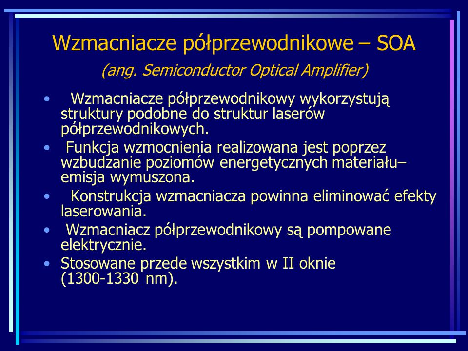 WADA: Szum wzmocnionej emisji spontanicznej Amplified Spontaneous Emission (ASE) 4-6 dB wzmocnienie nie jest stałe w paśmie C,L lub całym paśmie C+L.