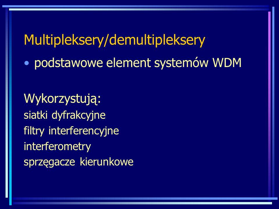 Multipleksery/demultipleksery podstawowe element systemów WDM Wykorzystują: siatki dyfrakcyjne filtry interferencyjne interferometry sprzęgacze kierunkowe