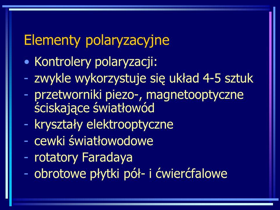 Elementy polaryzacyjne Kontrolery polaryzacji: -zwykle wykorzystuje się układ 4-5 sztuk -przetworniki piezo-, magnetooptyczne ściskające światłowód -kryształy elektrooptyczne -cewki światłowodowe -rotatory Faradaya -obrotowe płytki pół- i ćwierćfalowe