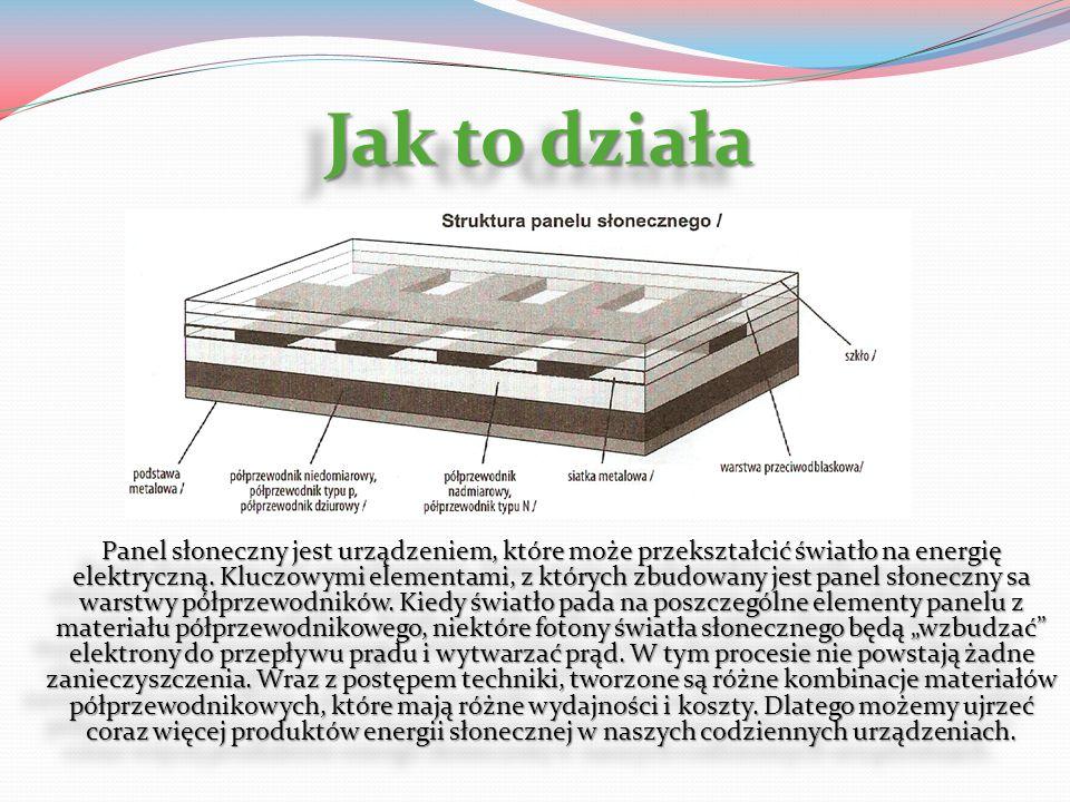 Jak to działa Panel słoneczny jest urządzeniem, które może przekształcić światło na energię elektryczną. Kluczowymi elementami, z których zbudowany je