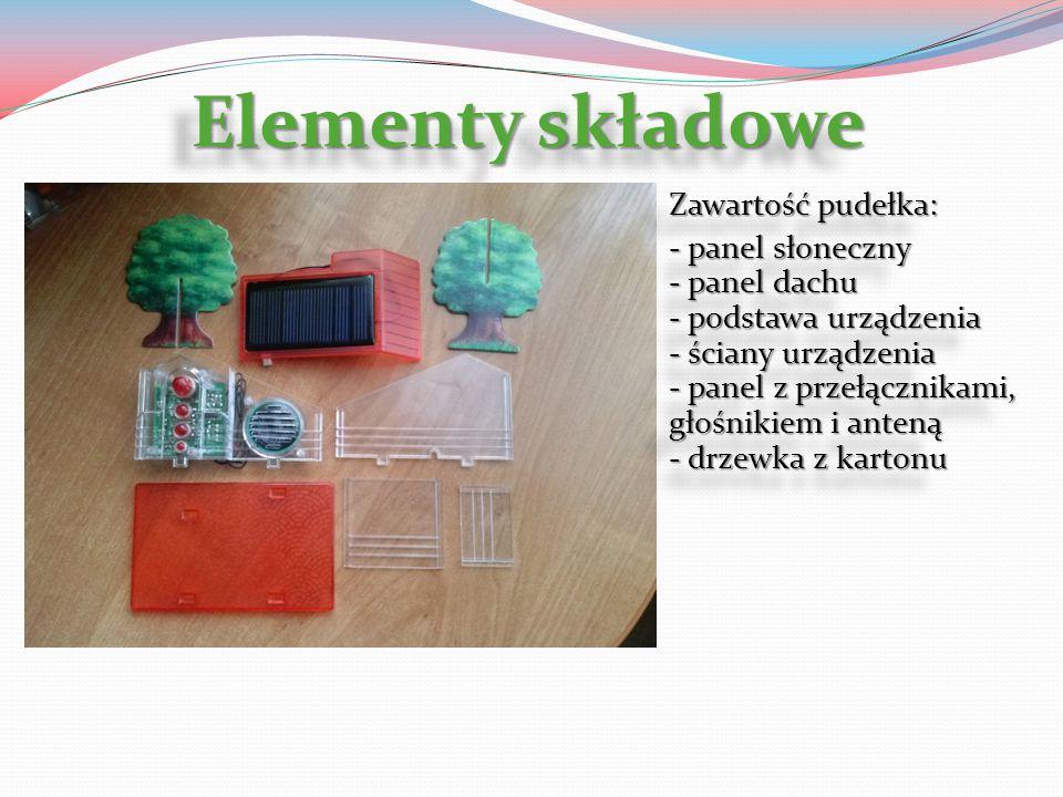 Elementy składowe Zawartość pudełka: - panel słoneczny - panel dachu - podstawa urządzenia - ściany urządzenia - panel z przełącznikami, głośnikiem i
