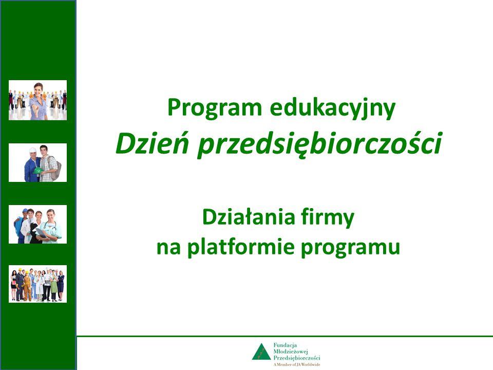Program edukacyjny Dzień przedsiębiorczości Działania firmy na platformie programu