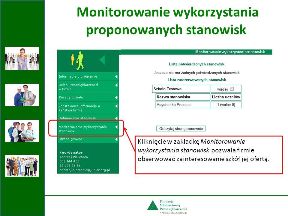 Monitorowanie wykorzystania proponowanych stanowisk Kliknięcie w zakładkę Monitorowanie wykorzystania stanowisk pozwala firmie obserwować zainteresowanie szkół jej ofertą.