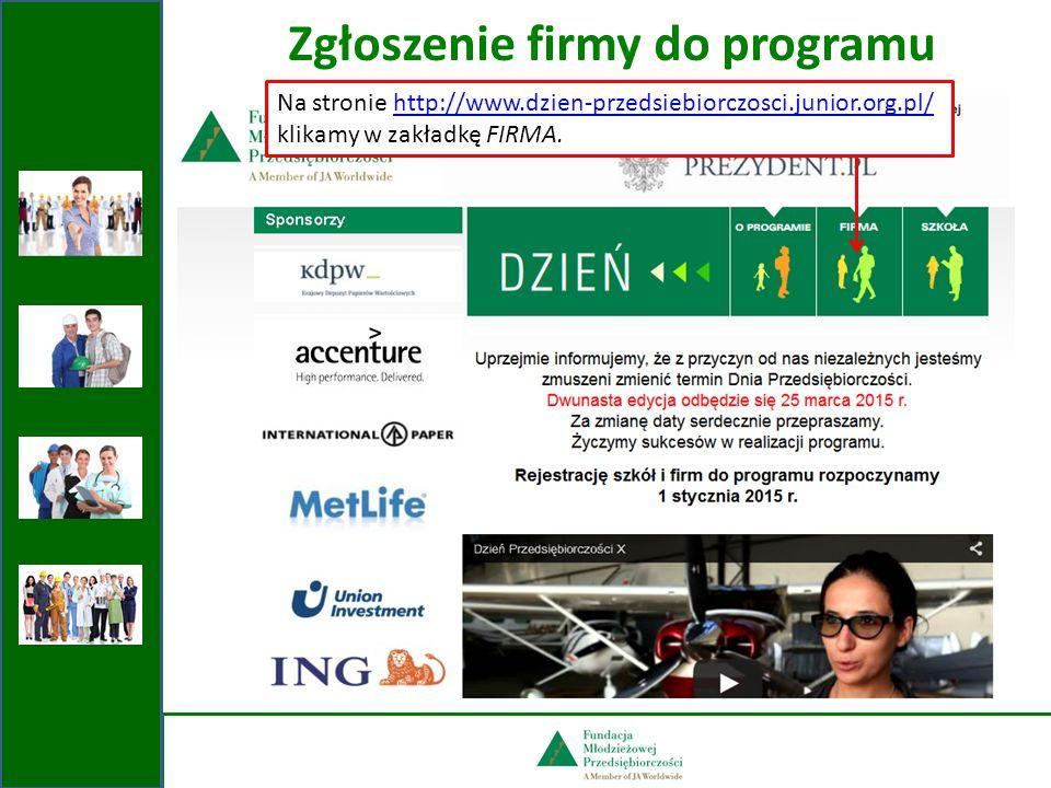 Zgłoszenie firmy do programu Na stronie http://www.dzien-przedsiebiorczosci.junior.org.pl/http://www.dzien-przedsiebiorczosci.junior.org.pl/ klikamy w zakładkę FIRMA.