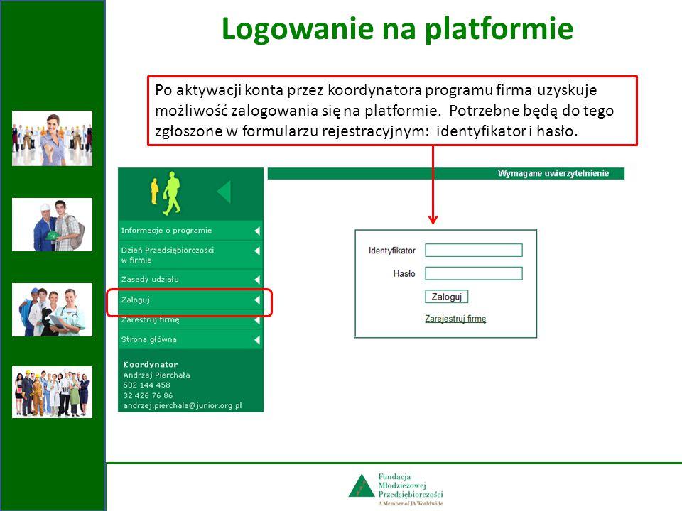 Logowanie na platformie Po aktywacji konta przez koordynatora programu firma uzyskuje możliwość zalogowania się na platformie.