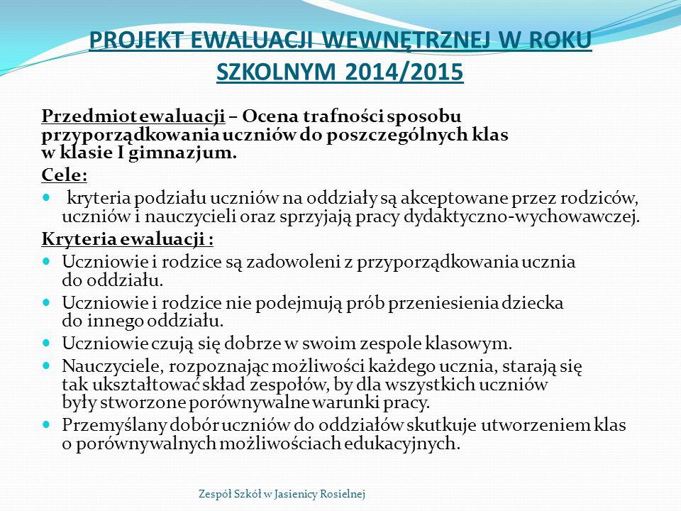 PROJEKT EWALUACJI WEWNĘTRZNEJ W ROKU SZKOLNYM 2014/2015 Przedmiot ewaluacji – Ocena trafności sposobu przyporządkowania uczniów do poszczególnych klas