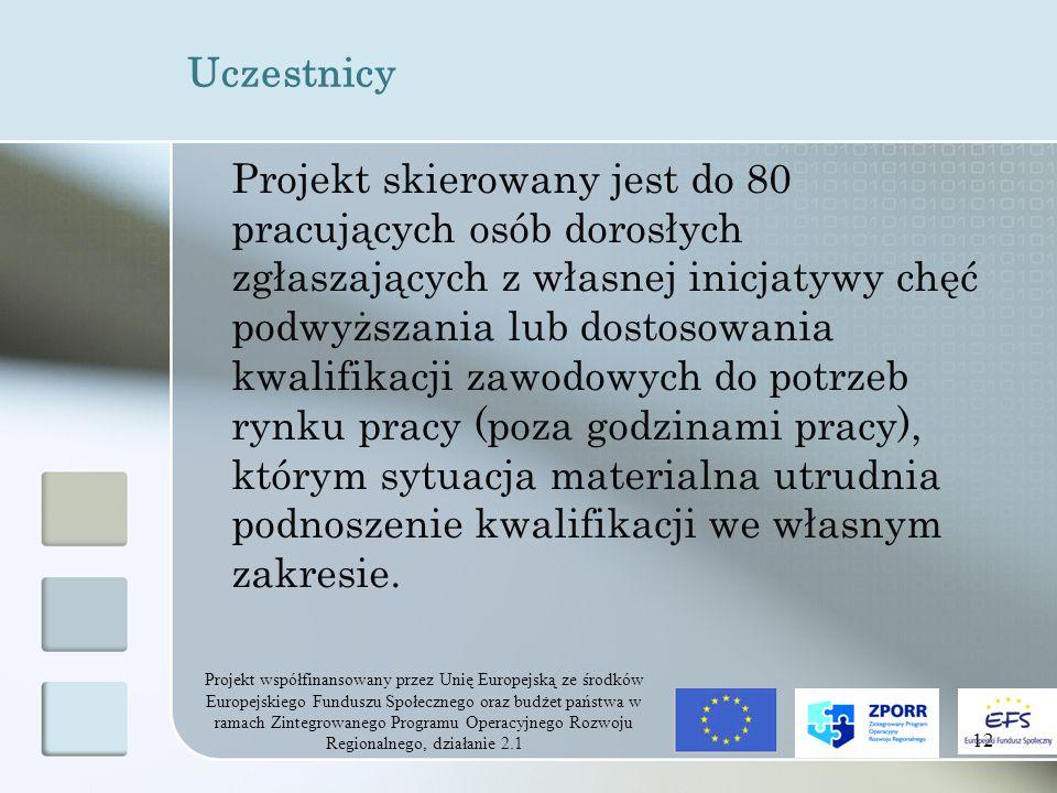 Projekt współfinansowany przez Unię Europejską ze środków Europejskiego Funduszu Społecznego oraz budżet państwa w ramach Zintegrowanego Programu Operacyjnego Rozwoju Regionalnego, działanie 2.1 12 Uczestnicy Projekt skierowany jest do 80 pracujących osób dorosłych zgłaszających z własnej inicjatywy chęć podwyższania lub dostosowania kwalifikacji zawodowych do potrzeb rynku pracy (poza godzinami pracy), którym sytuacja materialna utrudnia podnoszenie kwalifikacji we własnym zakresie.