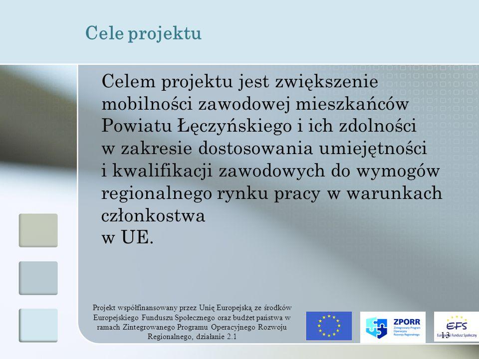 Projekt współfinansowany przez Unię Europejską ze środków Europejskiego Funduszu Społecznego oraz budżet państwa w ramach Zintegrowanego Programu Operacyjnego Rozwoju Regionalnego, działanie 2.1 13 Cele projektu Celem projektu jest zwiększenie mobilności zawodowej mieszkańców Powiatu Łęczyńskiego i ich zdolności w zakresie dostosowania umiejętności i kwalifikacji zawodowych do wymogów regionalnego rynku pracy w warunkach członkostwa w UE.