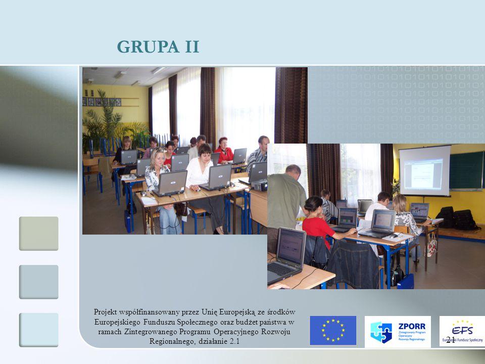 Projekt współfinansowany przez Unię Europejską ze środków Europejskiego Funduszu Społecznego oraz budżet państwa w ramach Zintegrowanego Programu Operacyjnego Rozwoju Regionalnego, działanie 2.1 21 GRUPA II