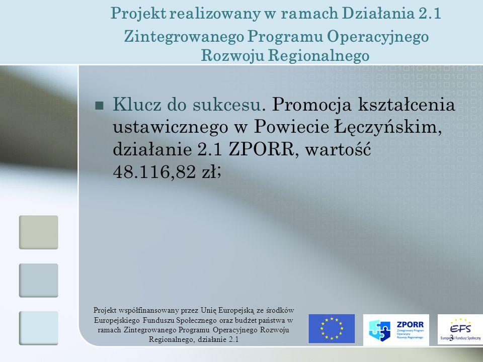 Projekt współfinansowany przez Unię Europejską ze środków Europejskiego Funduszu Społecznego oraz budżet państwa w ramach Zintegrowanego Programu Operacyjnego Rozwoju Regionalnego, działanie 2.1 3 Projekt realizowany w ramach Działania 2.1 Zintegrowanego Programu Operacyjnego Rozwoju Regionalnego Klucz do sukcesu.