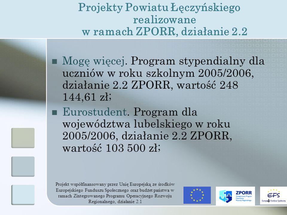 Projekt współfinansowany przez Unię Europejską ze środków Europejskiego Funduszu Społecznego oraz budżet państwa w ramach Zintegrowanego Programu Operacyjnego Rozwoju Regionalnego, działanie 2.1 4 Projekty Powiatu Łęczyńskiego realizowane w ramach ZPORR, działanie 2.2 Mogę więcej.