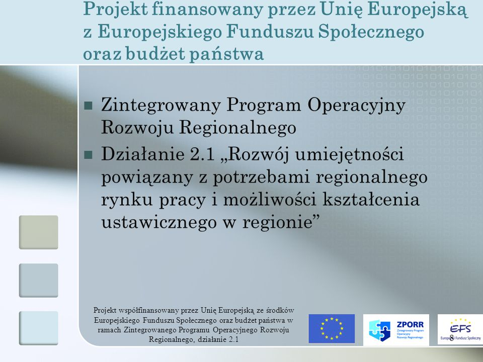 """Projekt współfinansowany przez Unię Europejską ze środków Europejskiego Funduszu Społecznego oraz budżet państwa w ramach Zintegrowanego Programu Operacyjnego Rozwoju Regionalnego, działanie 2.1 8 Projekt finansowany przez Unię Europejską z Europejskiego Funduszu Społecznego oraz budżet państwa Zintegrowany Program Operacyjny Rozwoju Regionalnego Działanie 2.1 """"Rozwój umiejętności powiązany z potrzebami regionalnego rynku pracy i możliwości kształcenia ustawicznego w regionie"""
