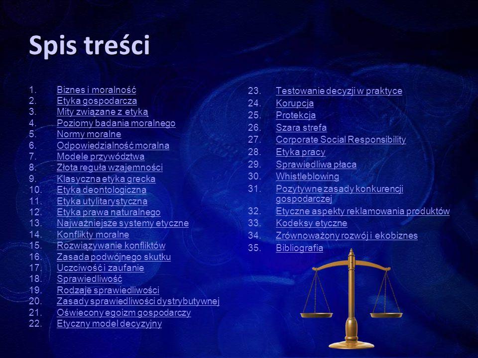 Spis treści 1. 1.Biznes i moralnośćBiznes i moralność 2. 2.Etyka gospodarczaEtyka gospodarcza 3. 3.Mity związane z etykąMity związane z etyką 4. 4.Poz