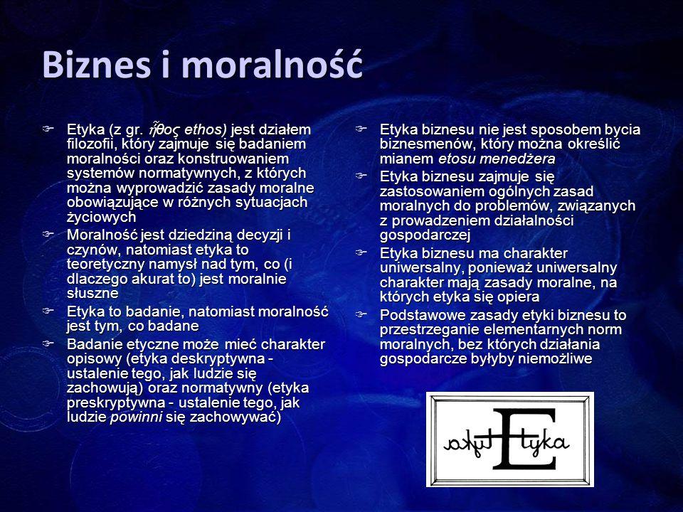 Biznes i moralność  Etyka (z gr. ἦ θος ethos) jest działem filozofii, który zajmuje się badaniem moralności oraz konstruowaniem systemów normatywnych