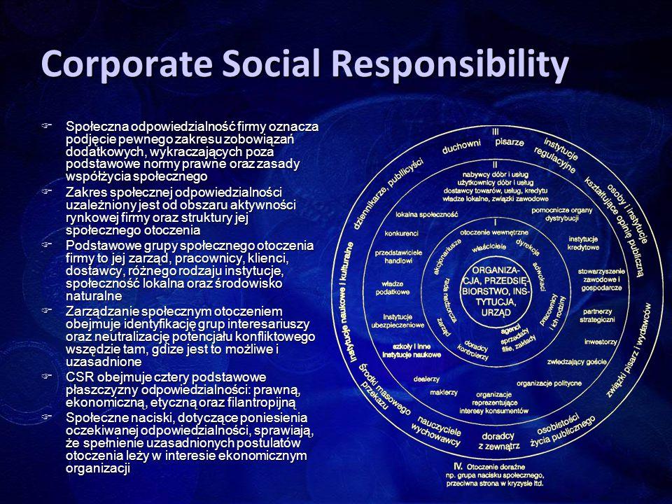 Corporate Social Responsibility  Społeczna odpowiedzialność firmy oznacza podjęcie pewnego zakresu zobowiązań dodatkowych, wykraczających poza podsta