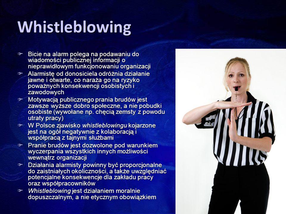 Whistleblowing  Bicie na alarm polega na podawaniu do wiadomości publicznej informacji o nieprawidłowym funkcjonowaniu organizacji  Alarmistę od don