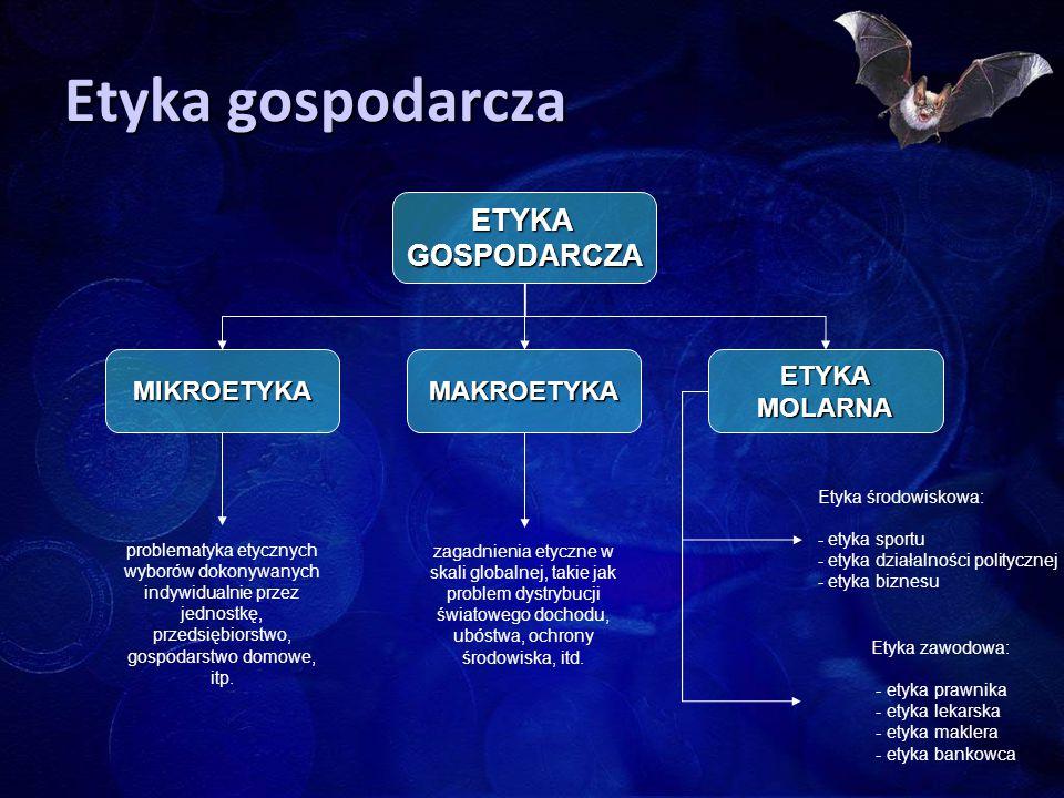 Etyka gospodarcza ETYKAMOLARNAMAKROETYKA ETYKAGOSPODARCZA Etyka zawodowa: - etyka prawnika - etyka lekarska - etyka maklera - etyka bankowca MIKROETYK
