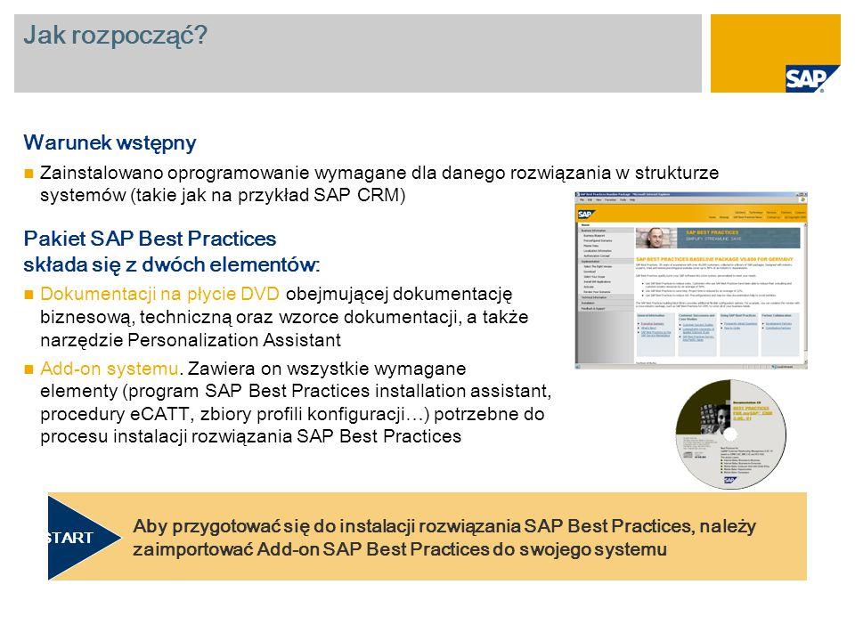 Jak rozpocząć? Warunek wstępny Zainstalowano oprogramowanie wymagane dla danego rozwiązania w strukturze systemów (takie jak na przykład SAP CRM) Paki