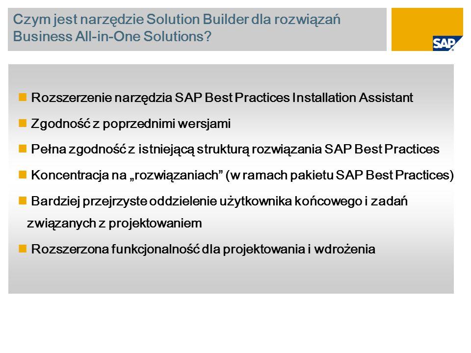 Czym jest narzędzie Solution Builder dla rozwiązań Business All-in-One Solutions? Rozszerzenie narzędzia SAP Best Practices Installation Assistant Zgo