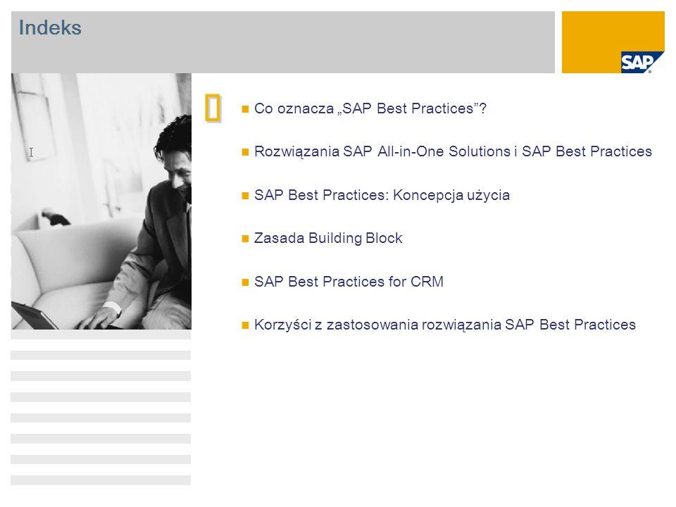 SAP Best Practices for CRM: Funkcje Zarządzanie kampanią Zarządzanie przychodzącymi potencjalnymi szansami Zarządzanie wychodzącymi potencjalnymi szansami Zarządzanie działaniami Zarządzanie szansami Telesprzedaż przychodząca Telesprzedaż wychodząca Sprzedaż przez Internet B2C Sprzedaż przez Internet B2B Rozszerzone przetwarzanie zlecenia sprzedaży Elastyczność Podejście oparte na blokach konstrukcyjnych building block w celu modułowego zastosowania składników CRM Ogólne scenariusze, które można w łatwy sposób połączyć w kompleksowe rozwiązania CRM Część podstawowa Rozszerzone Część podstawowa Kanały Obsługa zorientowanego na fazę wdrożenia CRM Duża firma Firma średniej wielkości Mała firma Zakres scenariusza dostosowany do rynku małych i średnich przedsiębiorstw (wymagania biznesowe i struktura systemów) Fokus BP CRM BP Baseline BP Industry SAP CRM SAP BW SAP ERP Prekonfigurowana integracja z innymi wersjami rozwiązania SAP Best Practices Integracja z innymi rozwiązaniami SAP Business Suite Integracja