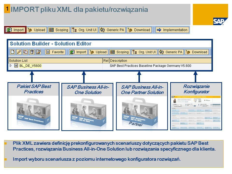 1 IMPORT pliku XML dla pakietu/rozwiązania Plik XML zawiera definicję prekonfigurowanych scenariuszy dotyczących pakietu SAP Best Practices, rozwiązan