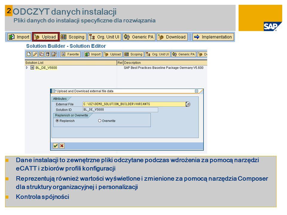Dane instalacji to zewnętrzne pliki odczytane podczas wdrożenia za pomocą narzędzi eCATT i zbiorów profili konfiguracji Reprezentują również wartości