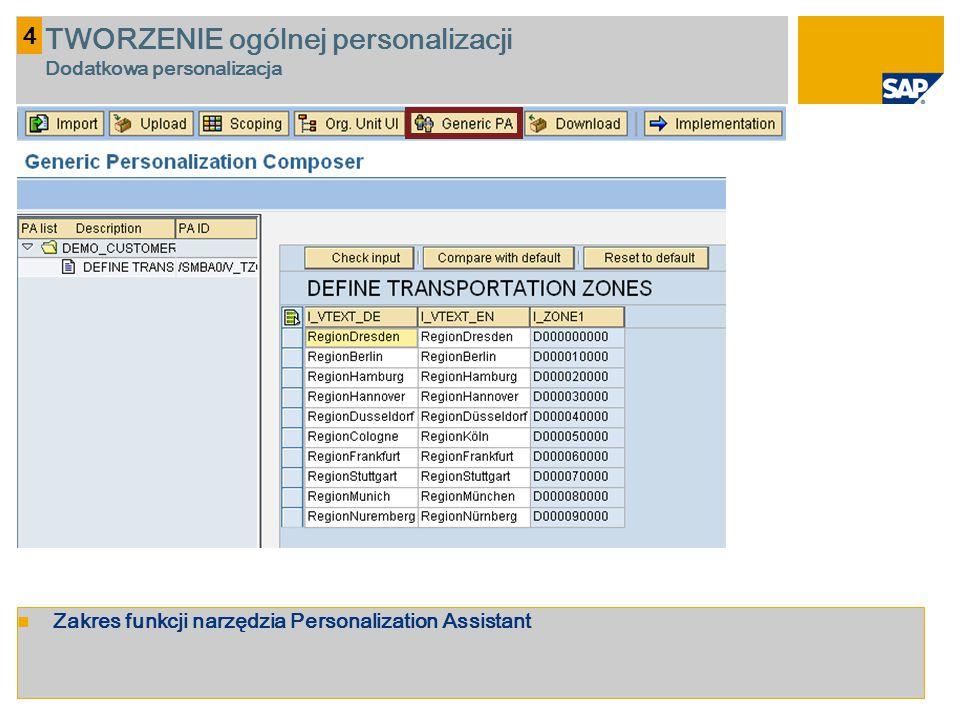 Zakres funkcji narzędzia Personalization Assistant 4 TWORZENIE ogólnej personalizacji Dodatkowa personalizacja