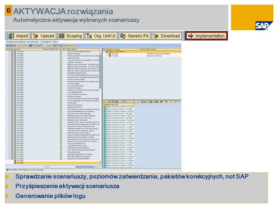 Sprawdzanie scenariuszy, poziomów zatwierdzania, pakietów korekcyjnych, not SAP Przyśpieszenie aktywacji scenariusza Generowanie plików logu 6 AKTYWAC
