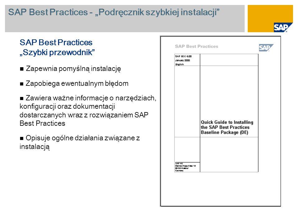 """SAP Best Practices - """"Podręcznik szybkiej instalacji"""" SAP Best Practices """"Szybki przewodnik"""" Zapewnia pomyślną instalację Zapobiega ewentualnym błędom"""