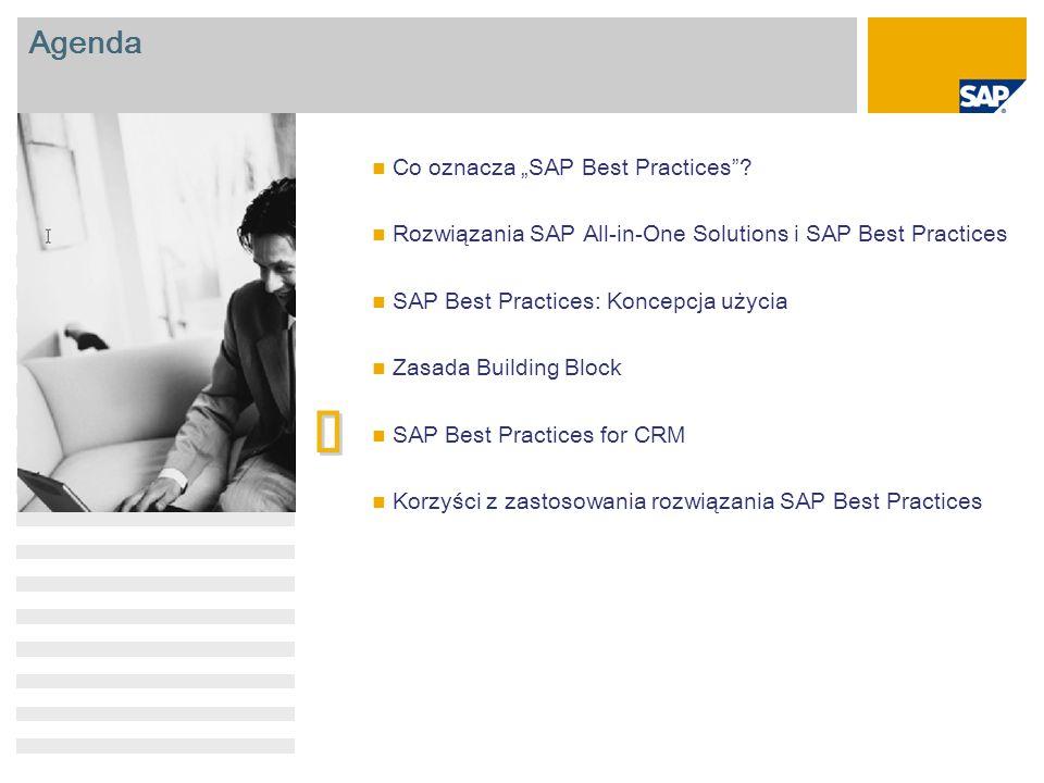 "Agenda Co oznacza ""SAP Best Practices""? Rozwiązania SAP All-in-One Solutions i SAP Best Practices SAP Best Practices: Koncepcja użycia Zasada Building"