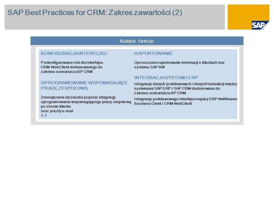SAP Best Practices for CRM: Zakres zawartości (2) Kolejne funkcje KONFIGURACJA INTERFEJSU Prekonfigurowane role dla interfejsu CRM WebClient dostosowa