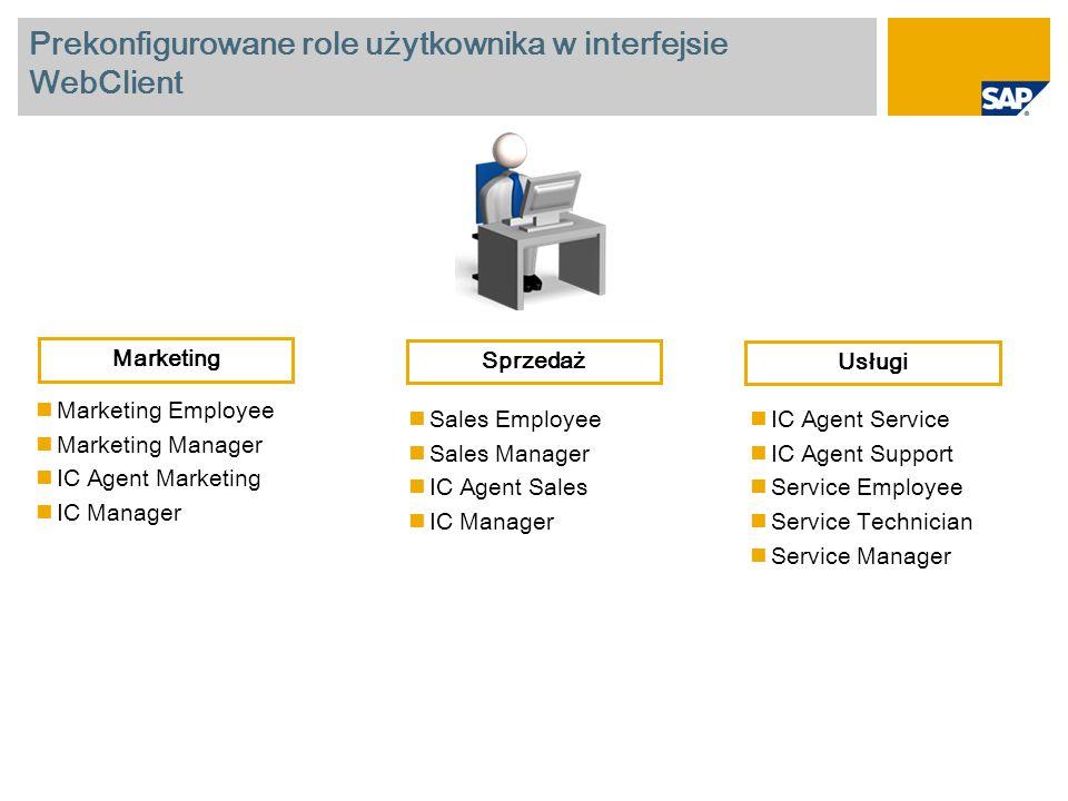 Prekonfigurowane role użytkownika w interfejsie WebClient Marketing Employee Marketing Manager IC Agent Marketing IC Manager Sales Employee Sales Mana