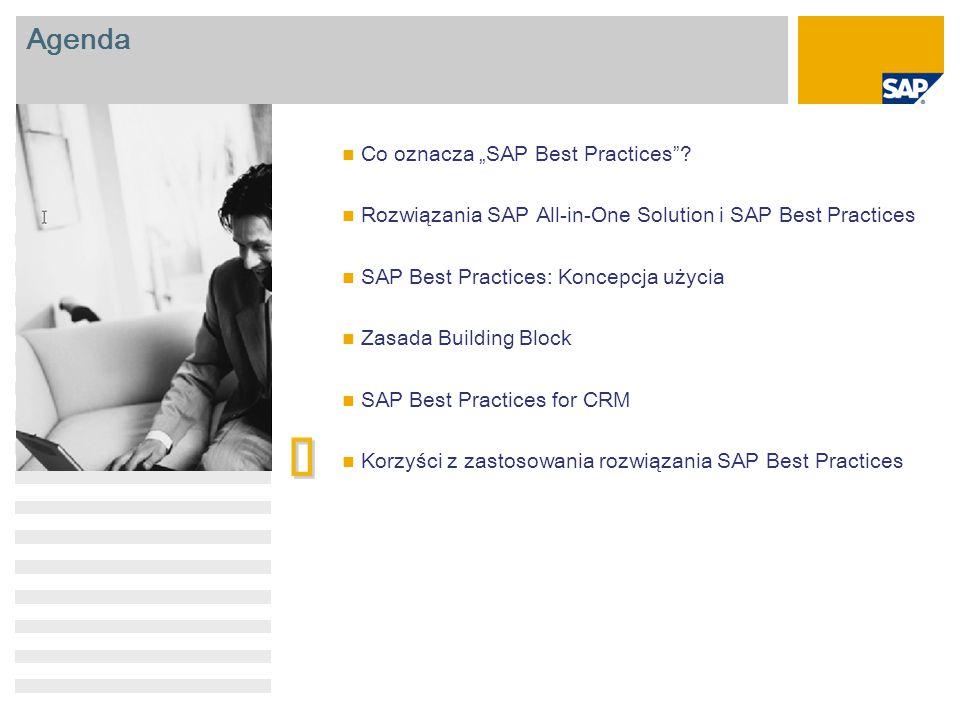 "Agenda Co oznacza ""SAP Best Practices""? Rozwiązania SAP All-in-One Solution i SAP Best Practices SAP Best Practices: Koncepcja użycia Zasada Building"
