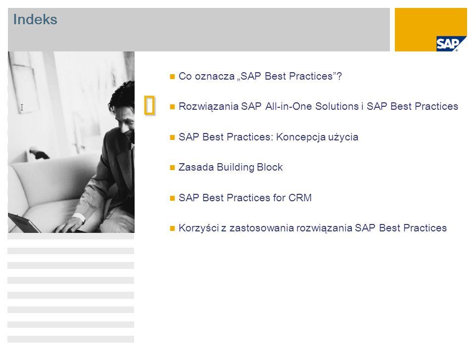 SAP Best Practices Kluczowy element podejścia firmy SAP do portfela produktów dla małych i średnich firm Konfigurowalne i rozszerzalne rozwiązanie biznesowe instalowane na miejscu i oferujące najlepsze praktyki biznesowe z danej branży Kompletne, możliwe do dostosowania rozwiązanie biznesowe na żądanie Pojedyncza aplikacja biznesowa obejmująca podstawowe procesy dla małych firm Partnerzy Rozwiązania branżowe Przyspieszenie dzięki rozwiązaniu SAP Best Practices