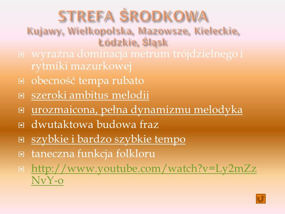  wyraźna dominacja metrum trójdzielnego i rytmiki mazurkowej  obecność tempa rubato  szeroki ambitus melodii  urozmaicona, pełna dynamizmu melodyka  dwutaktowa budowa fraz  szybkie i bardzo szybkie tempo  taneczna funkcja folkloru  http://www.youtube.com/watch?v=Ly2mZz NvY-o http://www.youtube.com/watch?v=Ly2mZz NvY-o