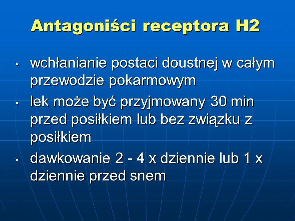 Antagoniści receptora H2 wchłanianie postaci doustnej w całym przewodzie pokarmowym wchłanianie postaci doustnej w całym przewodzie pokarmowym lek może być przyjmowany 30 min przed posiłkiem lub bez związku z posiłkiem lek może być przyjmowany 30 min przed posiłkiem lub bez związku z posiłkiem dawkowanie 2 - 4 x dziennie lub 1 x dziennie przed snem dawkowanie 2 - 4 x dziennie lub 1 x dziennie przed snem