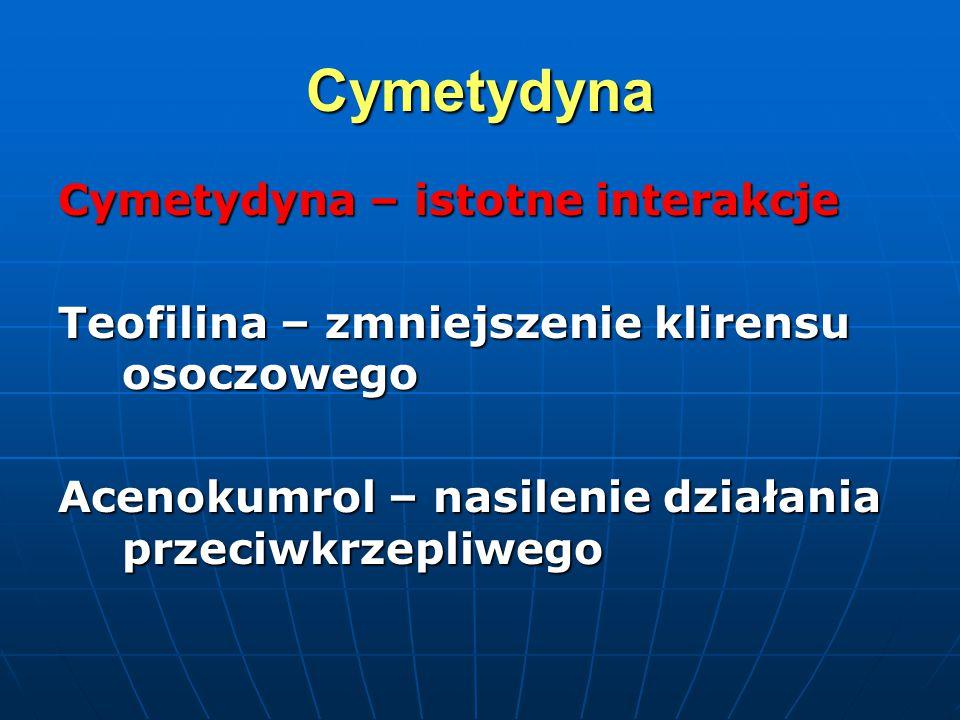 Cymetydyna Cymetydyna – istotne interakcje Teofilina – zmniejszenie klirensu osoczowego Acenokumrol – nasilenie działania przeciwkrzepliwego