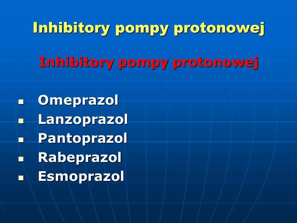 Inhibitory pompy protonowej Omeprazol Omeprazol Lanzoprazol Lanzoprazol Pantoprazol Pantoprazol Rabeprazol Rabeprazol Esmoprazol Esmoprazol