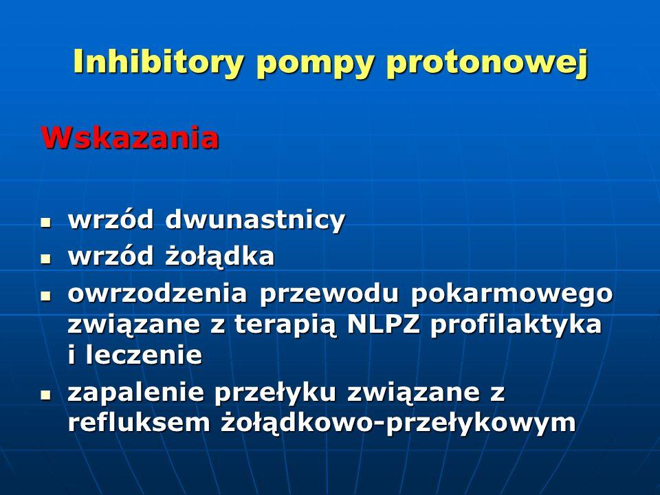 Inhibitory pompy protonowej Wskazania wrzód dwunastnicy wrzód dwunastnicy wrzód żołądka wrzód żołądka owrzodzenia przewodu pokarmowego związane z terapią NLPZ profilaktyka i leczenie owrzodzenia przewodu pokarmowego związane z terapią NLPZ profilaktyka i leczenie zapalenie przełyku związane z refluksem żołądkowo-przełykowym zapalenie przełyku związane z refluksem żołądkowo-przełykowym