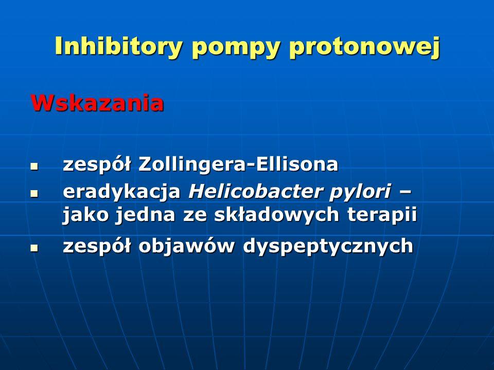 Inhibitory pompy protonowej Wskazania zespół Zollingera-Ellisona zespół Zollingera-Ellisona eradykacja Helicobacter pylori – jako jedna ze składowych terapii eradykacja Helicobacter pylori – jako jedna ze składowych terapii zespół objawów dyspeptycznych zespół objawów dyspeptycznych