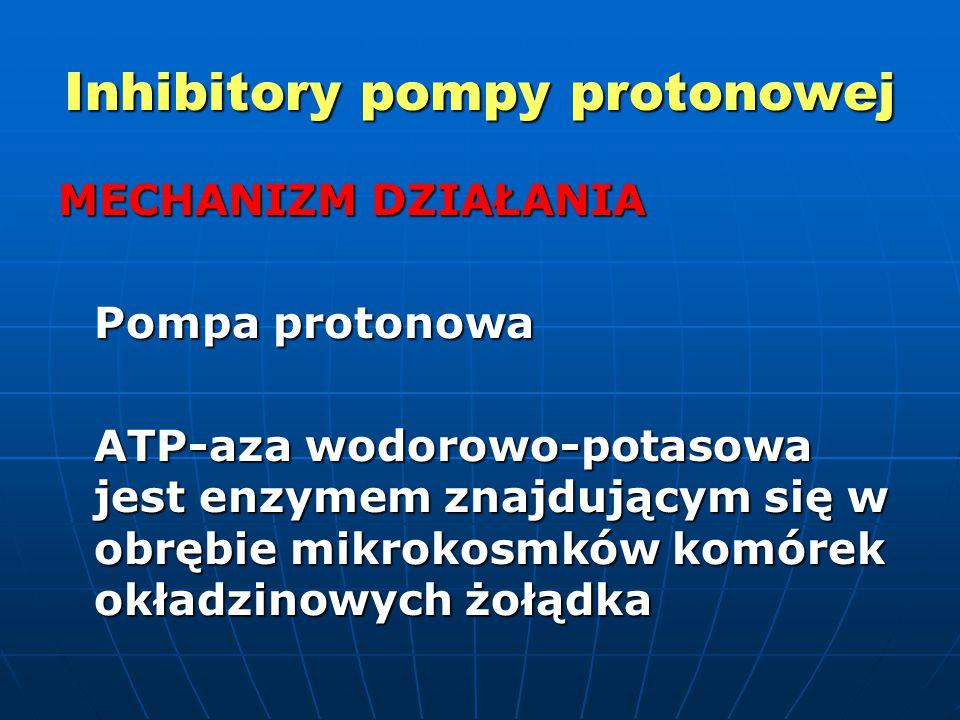 Inhibitory pompy protonowej MECHANIZM DZIAŁANIA Pompa protonowa ATP-aza wodorowo-potasowa jest enzymem znajdującym się w obrębie mikrokosmków komórek okładzinowych żołądka