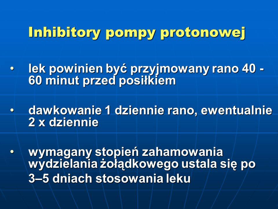 Inhibitory pompy protonowej lek powinien być przyjmowany rano 40 - 60 minut przed posiłkiemlek powinien być przyjmowany rano 40 - 60 minut przed posił