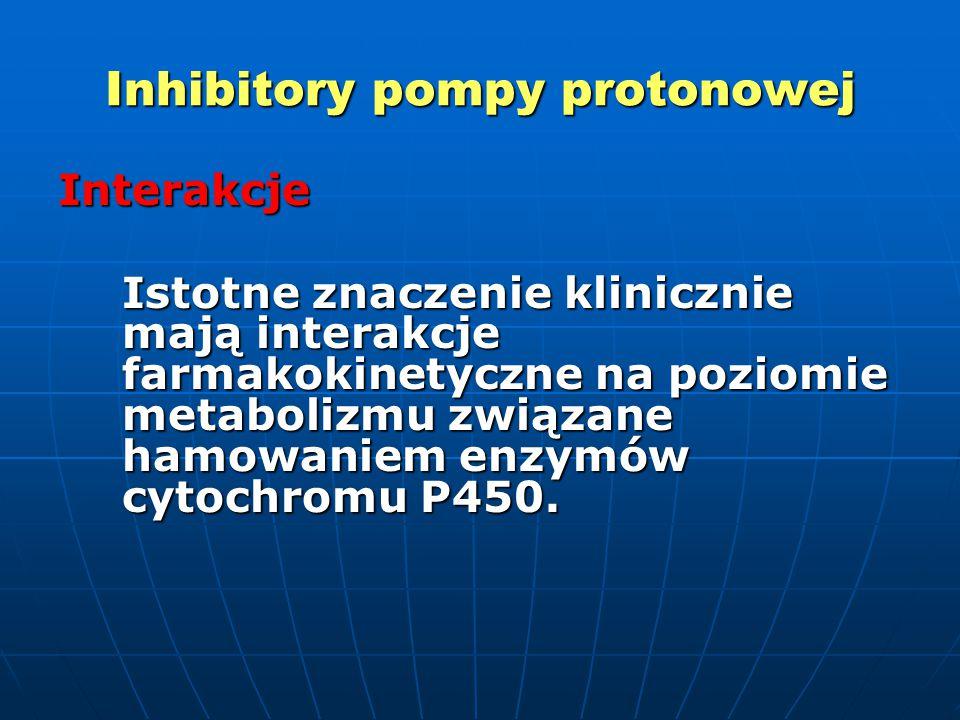 Inhibitory pompy protonowej Interakcje Istotne znaczenie klinicznie mają interakcje farmakokinetyczne na poziomie metabolizmu związane hamowaniem enzymów cytochromu P450.